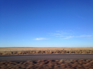 The landscape on the four hour drive from Albuquerque, NM, to Artesia Family Detention Center.