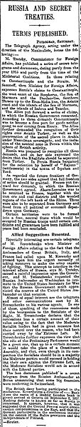 The first reference in English to the Sykes-Picot agreement, by The Manchester Guardian 26 November 1917