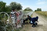 Refugees cross Hungary-Serbia border fence (courtesy of Wikipedia)