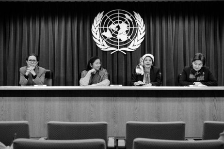 6 February 1998 - Committee on the Elimination of Discrimination Against Women, United Nations Headquarters, New York addressing journalists at a press briefing