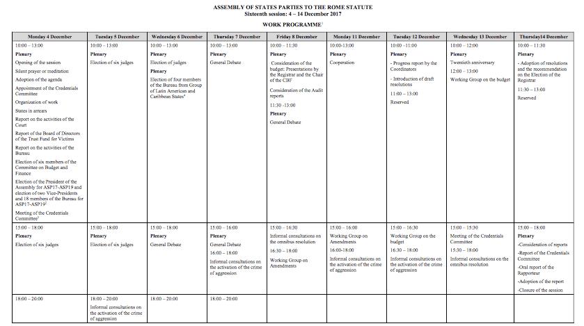 ASP Work Programme
